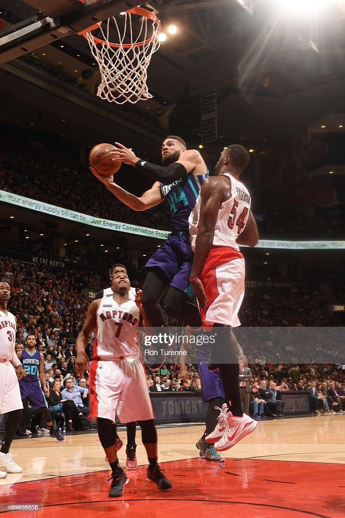 Jeff Taylor of the Charlotte Hornets goes for the layup against the Toronto Raptors during the game on April 15 2015 at Air Canda Centre in Toronto...
