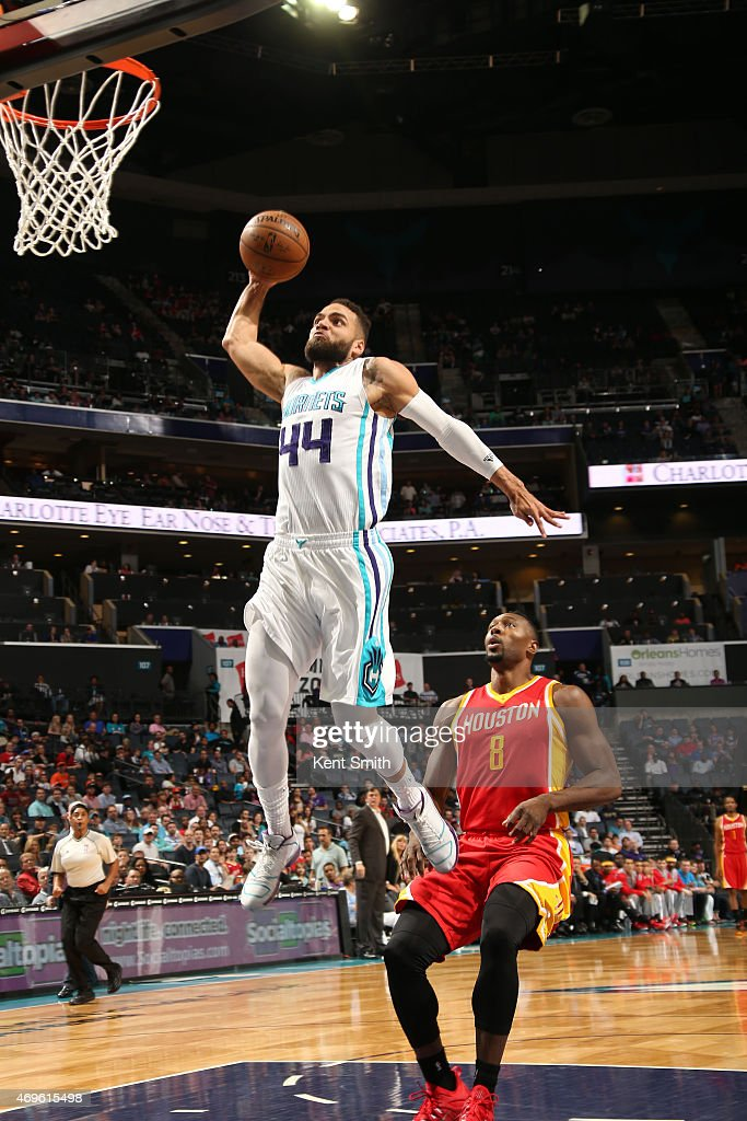 Jeff Taylor of the Charlotte Hornets goes up for a dunk against the Houston Rockets during the game at the Time Warner Cable Arena on April 13 2015...