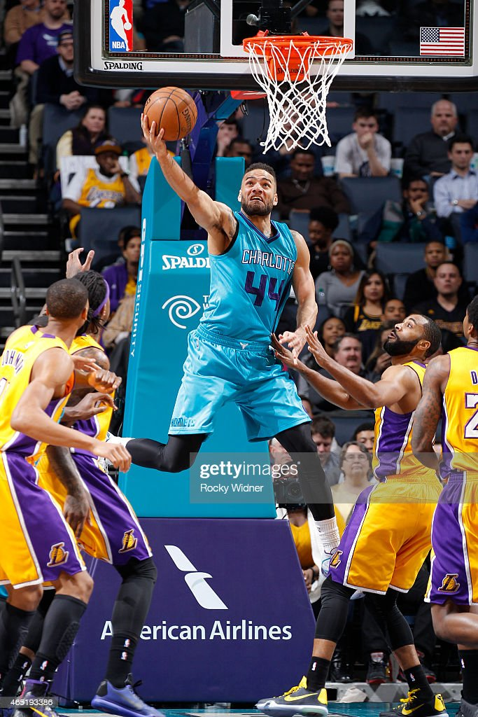 Jeff Taylor of the Charlotte Hornets shoots a layup against the Los Angeles Lakers on March 3 2015 at at Time Warner Cable Arena in Charlotte North...