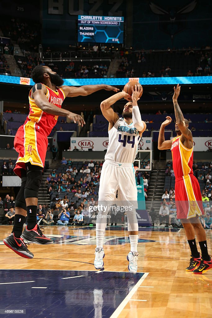 Jeff Taylor of the Charlotte Hornets shoots against the Houston Rockets during the game at the Time Warner Cable Arena on April 13 2015 in Charlotte...
