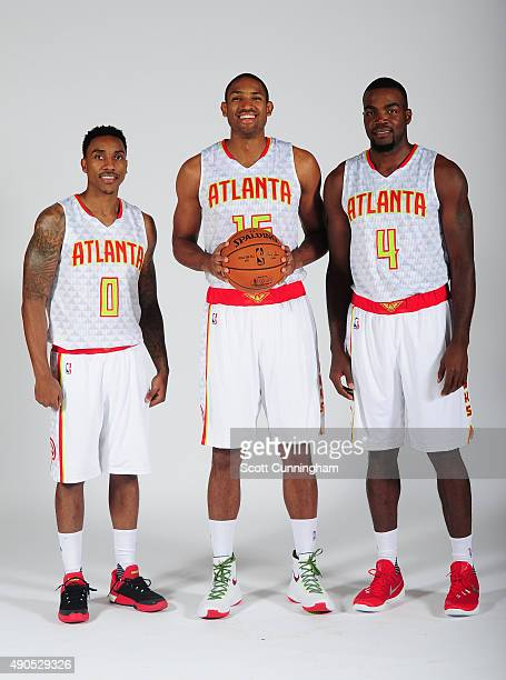 Jeff Teague Al Horford and Paul Millsap of the Atlanta Hawks pose during NBA Photo Day on September 28 2015 at Philips Arena in Atlanta Georgia NOTE...