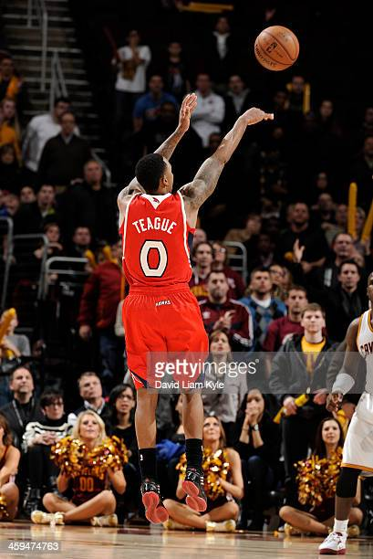 Jeff Teague of the Atlanta Hawk shoots the game winner as the clock expires in double overtime against the Cleveland Cavaliers in at The Quicken...
