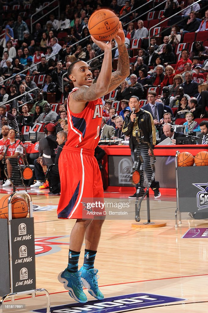 Jeff Teague of the Atlanta Hawks attempts a shot during the 2013 Taco Bell Skills Challenge on State Farm All-Star Saturday Night as part of 2013 NBA All-Star Weekend on February 16, 2013 at Toyota Center in Houston, Texas.