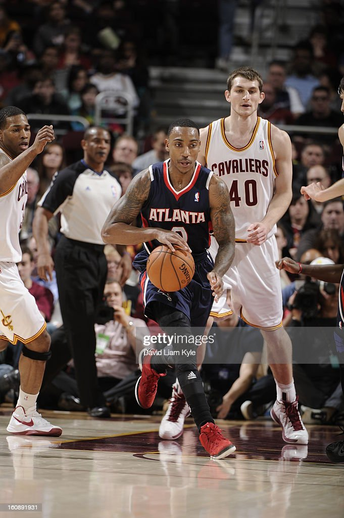<a gi-track='captionPersonalityLinkClicked' href=/galleries/search?phrase=Jeff+Teague&family=editorial&specificpeople=4680498 ng-click='$event.stopPropagation()'>Jeff Teague</a> #0 of the Atlanta Hawks brings the ball up court against the Cleveland Cavaliers at The Quicken Loans Arena on January 9, 2013 in Cleveland, Ohio.