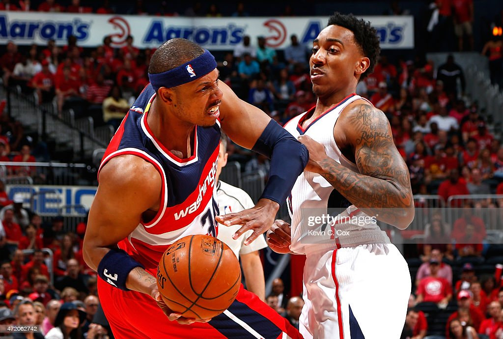 Jeff Teague #0 of the Atlanta Hawks defends against Paul Pierce #34 of the Washington Wizards during Game One of the Eastern Conference Semifinals of the 2015 NBA Playoffs at Philips Arena on May 3, 2015 in Atlanta, Georgia.