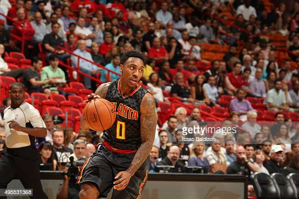 Jeff Teague of the Atlanta Hawks dribbles the ball against the Miami Heat on November 3 2015 at AmericanAirlines Arena in Miami Florida NOTE TO USER...
