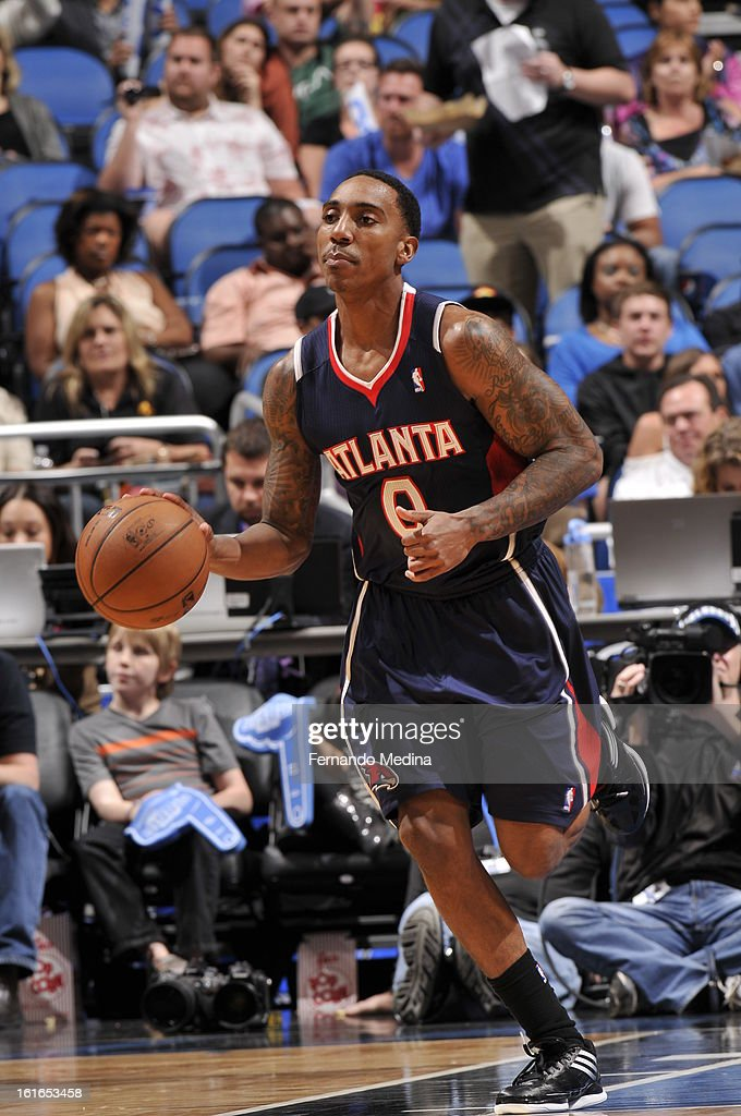 Jeff Teague #0 of the Atlanta Hawks dribbles the ball up the court against the Orlando Magic during the game on February 13, 2013 at Amway Center in Orlando, Florida.