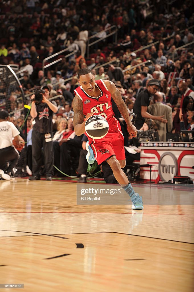 Jeff Teague #0 of the Atlanta Hawks drives the ball during the 2013 Taco Bell Skills Challenge on State Farm All-Star Saturday Night as part of 2013 NBA All-Star Weekend on February 16, 2013 at Toyota Center in Houston, Texas.
