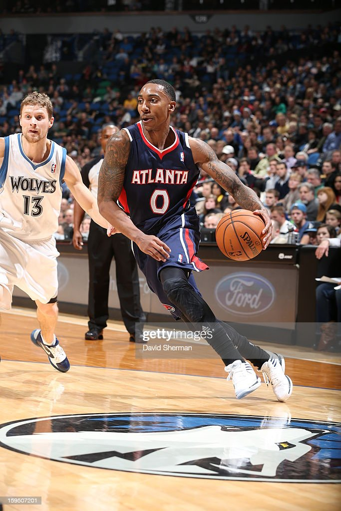 <a gi-track='captionPersonalityLinkClicked' href=/galleries/search?phrase=Jeff+Teague&family=editorial&specificpeople=4680498 ng-click='$event.stopPropagation()'>Jeff Teague</a> #0 of the Atlanta Hawks drives to the basket against <a gi-track='captionPersonalityLinkClicked' href=/galleries/search?phrase=Luke+Ridnour&family=editorial&specificpeople=201824 ng-click='$event.stopPropagation()'>Luke Ridnour</a> #13 of the Minnesota Timberwolves on January 8, 2013 at Target Center in Minneapolis, Minnesota.
