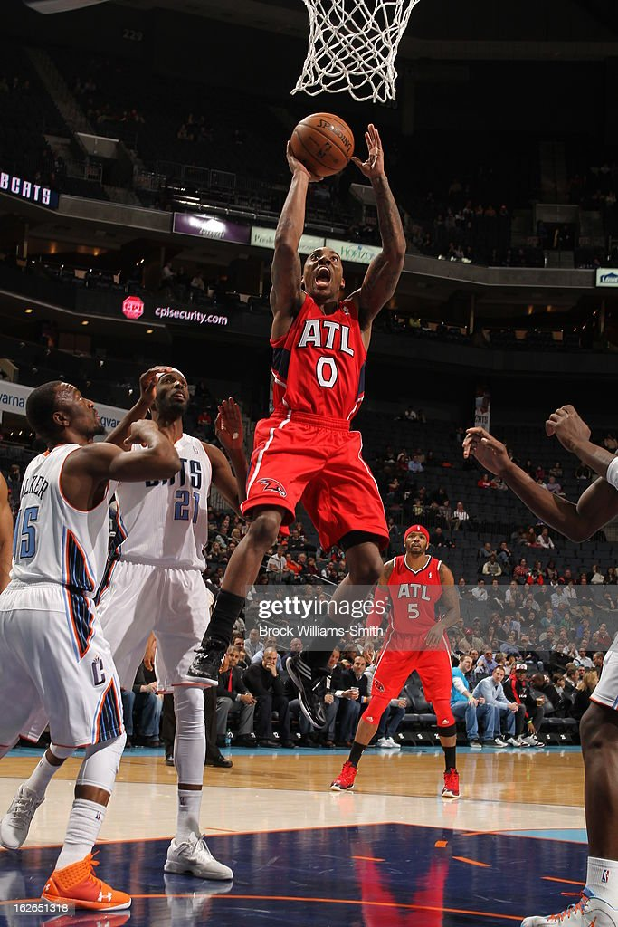 Jeff Teague #0 of the Atlanta Hawks drives to the basket against the Charlotte Bobcats at the Time Warner Cable Arena on January 23, 2013 in Charlotte, North Carolina.