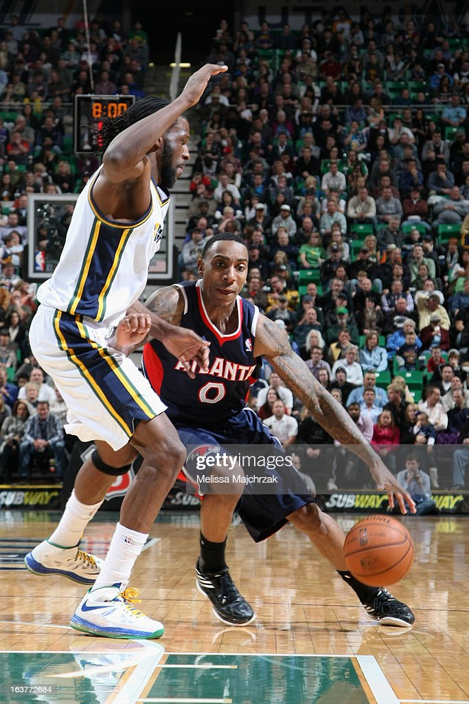 Jeff Teague #0 of the Atlanta Hawks drives to the basket against the Utah Jazz at Energy Solutions Arena on February 27, 2013 in Salt Lake City, Utah.