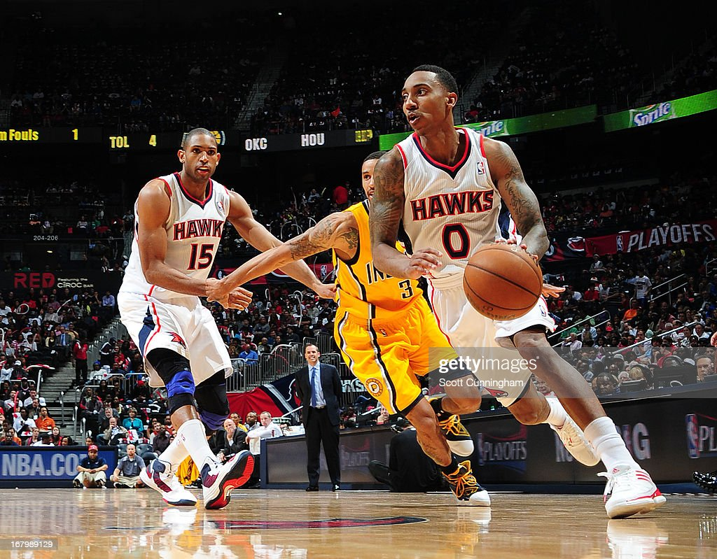 Jeff Teague #0 of the Atlanta Hawks drives to the basket against the Indiana Pacers during Game Six of the Eastern Conference Quarterfinals in the 2013 NBA Playoffs on May 3, 2013 at Philips Arena in Atlanta, Georgia.