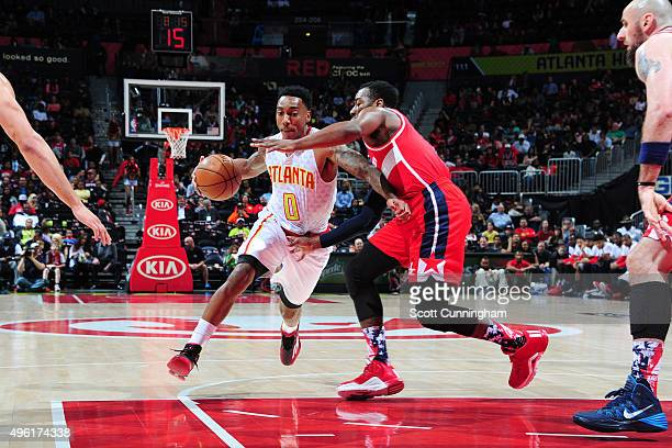 Jeff Teague of the Atlanta Hawks drives to the basket against the Washington Wizards during the game on November 7 2015 at Philips Arena in Atlanta...