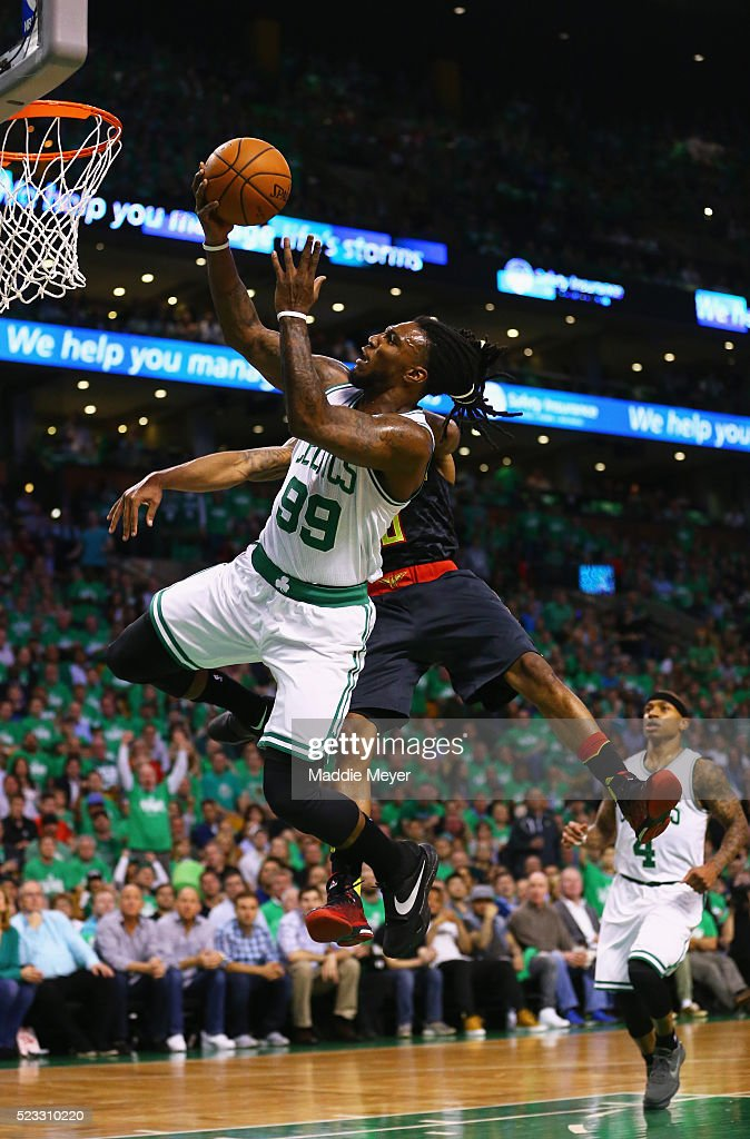 Jeff Teague #0 of the Atlanta Hawks fouls Jae Crowder #99 of the Boston Celtics during the first quarter of Game Three of the Eastern Conference Quarterfinals during the 2016 NBA Playoffs at TD Garden on April 22, 2016 in Boston, Massachusetts. NOTE TO USER User expressly acknowledges and agrees that, by downloading and or using this photograph, user is consenting to the terms and conditions of the Getty Images License Agreement.