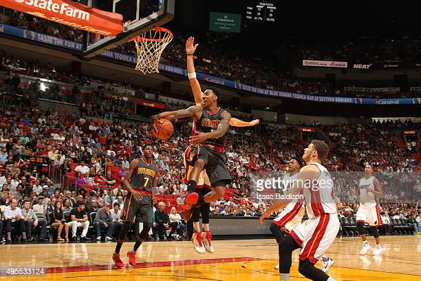 Jeff Teague of the Atlanta Hawks goes to the basket against the Miami Heat on November 3 2015 at AmericanAirlines Arena in Miami Florida NOTE TO USER...
