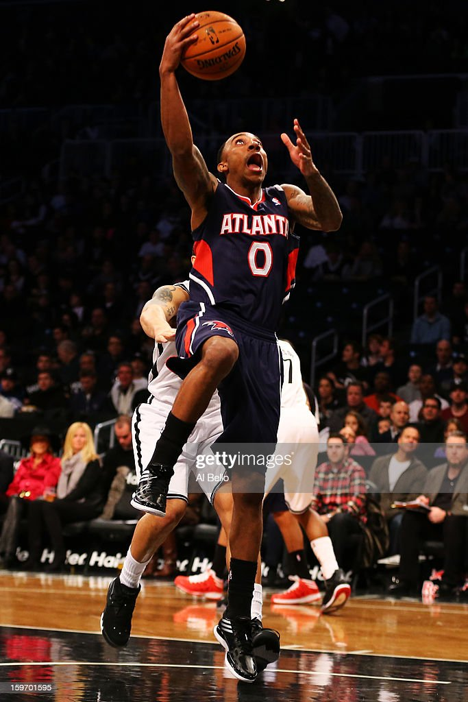 Jeff Teague #0 of the Atlanta Hawks goes up for a shot against the Brooklyn Nets in the first quarter of the game at Barclays Center on January 18, 2013 in the Brooklyn borough of New York City.