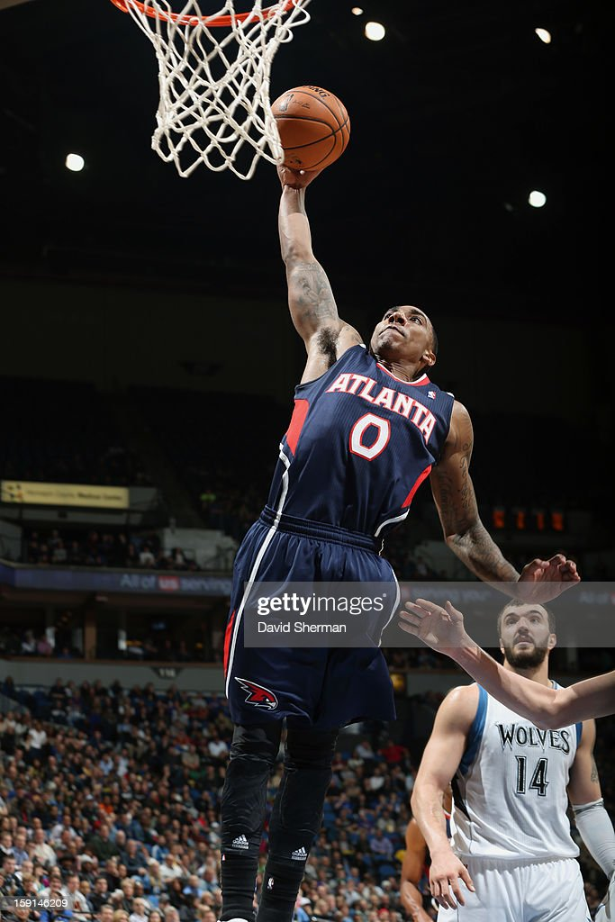 Jeff Teague #0 of the Atlanta Hawks goes up for the dunk against the Minnesota Timberwolves during the game on January 8, 2013 at Target Center in Minneapolis, Minnesota.