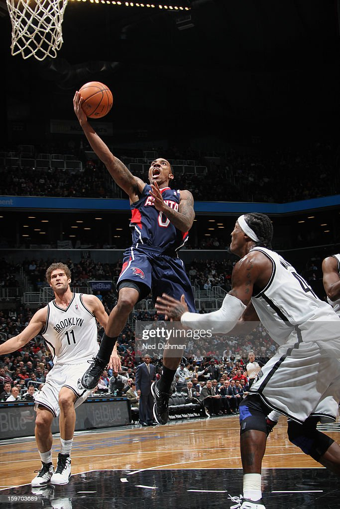 Jeff Teague #0 of the Atlanta Hawks goes up for the layup against the Brooklyn Nets at the Barclays Center on January 18, 2013 in the Brooklyn borough of New York City in New York City.