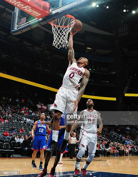Jeff Teague of the Atlanta Hawks goes up for the layup against the Philadelphia 76ers on April 5 2013 at Philips Arena in Atlanta Georgia NOTE TO...