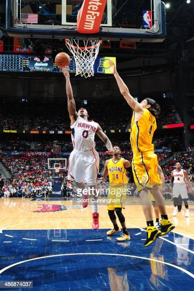 Jeff Teague of the Atlanta Hawks goes up for the layup against the Indiana Pacers during Game Four of the Eastern Conference Quarterfinals on April...