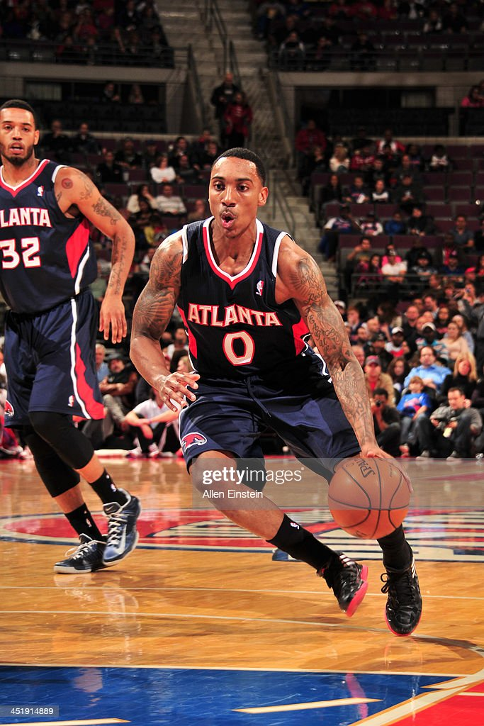 <a gi-track='captionPersonalityLinkClicked' href=/galleries/search?phrase=Jeff+Teague&family=editorial&specificpeople=4680498 ng-click='$event.stopPropagation()'>Jeff Teague</a> #0 of the Atlanta Hawks handles the ball against the Detroit Pistons on November 22, 2013 at The Palace of Auburn Hills in Auburn Hills, Michigan.