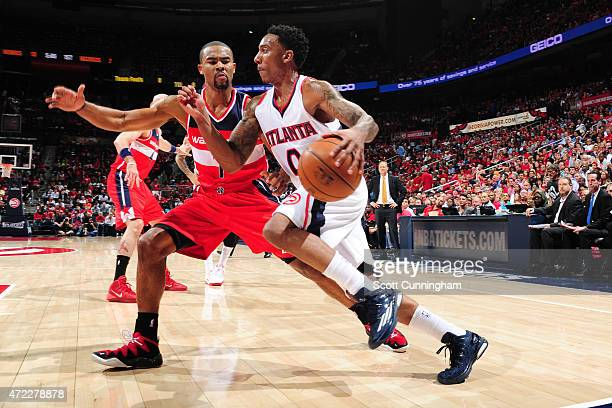 Jeff Teague of the Atlanta Hawks handles the ball against the Washington Wizards in Game Two of the Eastern Conference Semifinals of the NBA Playoffs...