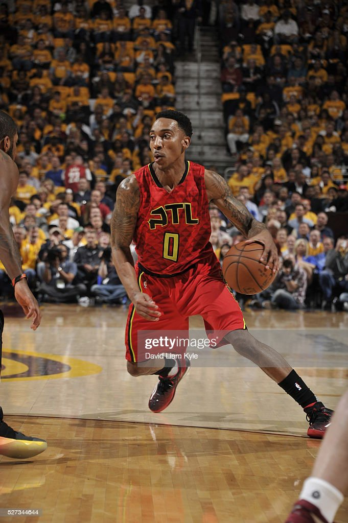Jeff Teague #0 of the Atlanta Hawks handles the ball against the Cleveland Cavaliers in Game One of the Eastern Conference Semifinals of the 2016 NBA Playoffs on May 2, 2016 at The Quicken Loans Arena in Cleveland, Ohio.