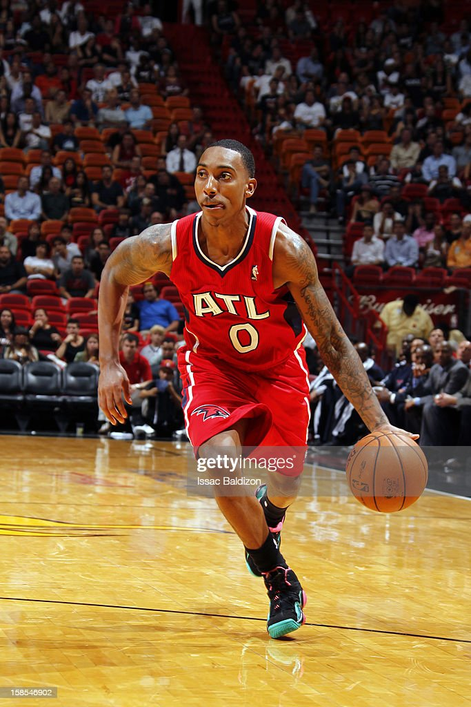 Jeff Teague #0 of the Atlanta Hawks handles the ball against the Miami Heat on December 10, 2012 at American Airlines Arena in Miami, Florida.