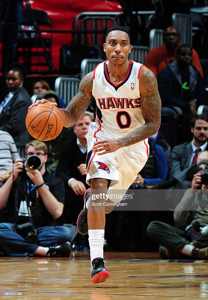 <a gi-track='captionPersonalityLinkClicked' href=/galleries/search?phrase=Jeff+Teague&family=editorial&specificpeople=4680498 ng-click='$event.stopPropagation()'>Jeff Teague</a> #0 of the Atlanta Hawks handling the ball during a game against the Indiana Pacers of the Atlanta Hawks against of the Indiana Pacers on January 8, 2014 at Philips Arena in Atlanta, Georgia.