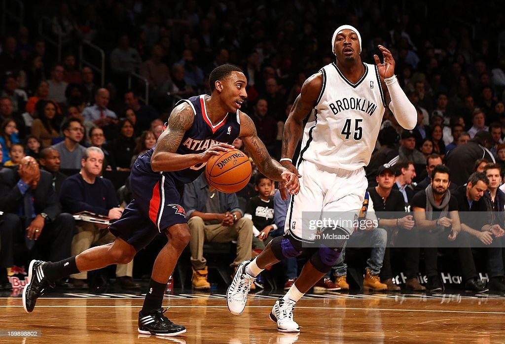 Jeff Teague #0 of the Atlanta Hawks in action against Gerald Wallace #45 of the Brooklyn Nets at Barclays Center on January 18, 2013 in the Brooklyn borough of New York City.The Nets defeated the Hawks 94-89.