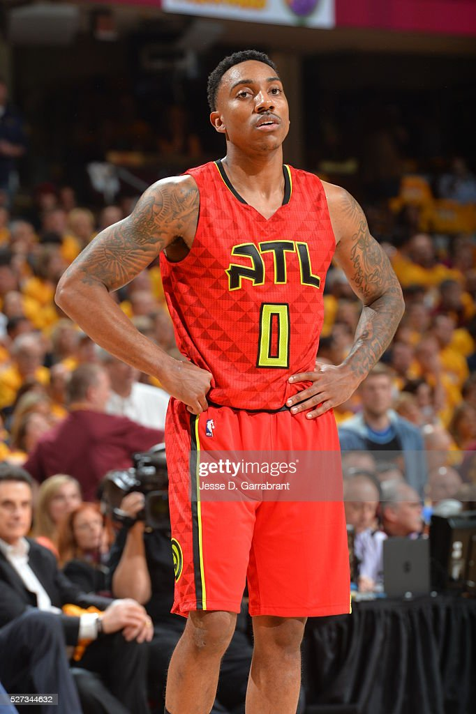 Jeff Teague #0 of the Atlanta Hawks looks on against the Cleveland Cavilers during the Eastern Conference Semifinals Game One on May 2, 2016 at The Quicken Loans Arena in Cleveland, Ohio.