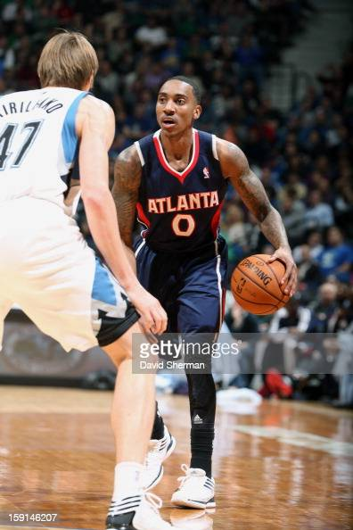 Jeff Teague of the Atlanta Hawks looks to go up against Andrei Kirilenko of the Minnesota Timberwolves during the game on January 8 2013 at Target...