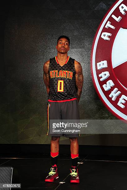 Jeff Teague of the Atlanta Hawks models the Hawks new uniform on June 24 2015 at Philips Arena in Atlanta Georgia NOTE TO USER User expressly...