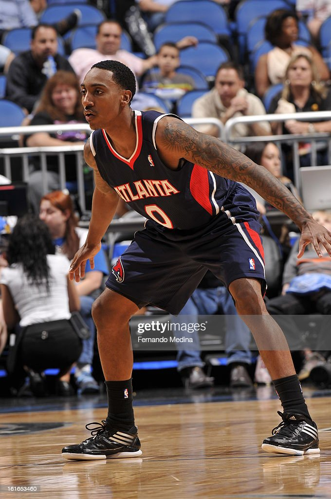 Jeff Teague #0 of the Atlanta Hawks plays tight defense against the Orlando Magic during the game on February 13, 2013 at Amway Center in Orlando, Florida.
