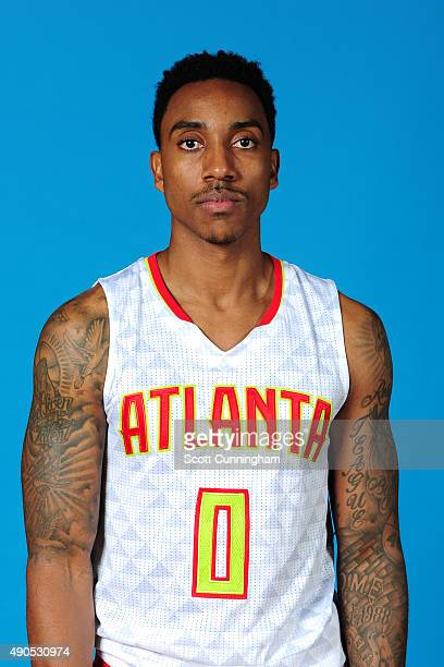 Jeff Teague of the Atlanta Hawks poses for a photo during media day on September 28 2015 at Philips Arena in Atlanta Georgia NOTE TO USER User...