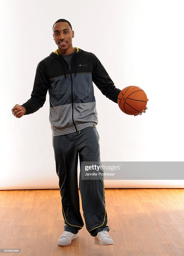 <a gi-track='captionPersonalityLinkClicked' href=/galleries/search?phrase=Jeff+Teague&family=editorial&specificpeople=4680498 ng-click='$event.stopPropagation()'>Jeff Teague</a> #0 of the Atlanta Hawks poses for portraits during the NBAE Circuit as part of 2013 All-Star Weekend at the Hilton Americas Hotel on February 16, 2013 in Houston, Texas.