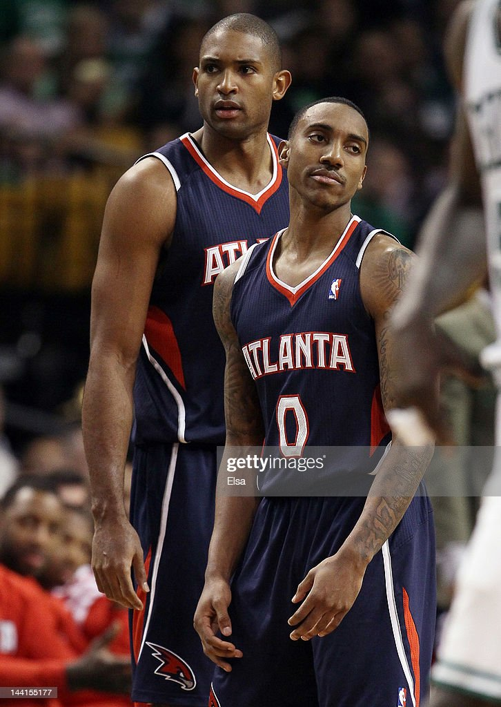 <a gi-track='captionPersonalityLinkClicked' href=/galleries/search?phrase=Jeff+Teague&family=editorial&specificpeople=4680498 ng-click='$event.stopPropagation()'>Jeff Teague</a> #0 of the Atlanta Hawks reacts after he is called for a technical foul as teammate <a gi-track='captionPersonalityLinkClicked' href=/galleries/search?phrase=Al+Horford&family=editorial&specificpeople=699030 ng-click='$event.stopPropagation()'>Al Horford</a> #15 consoles him in Game Six of the Eastern Conference Quarterfinals in the 2012 NBA Playoffs on May 10, 2012 at TD Garden in Boston, Massachusetts. The Boston Celtics defeated the Atlanta Hawks 83-80.