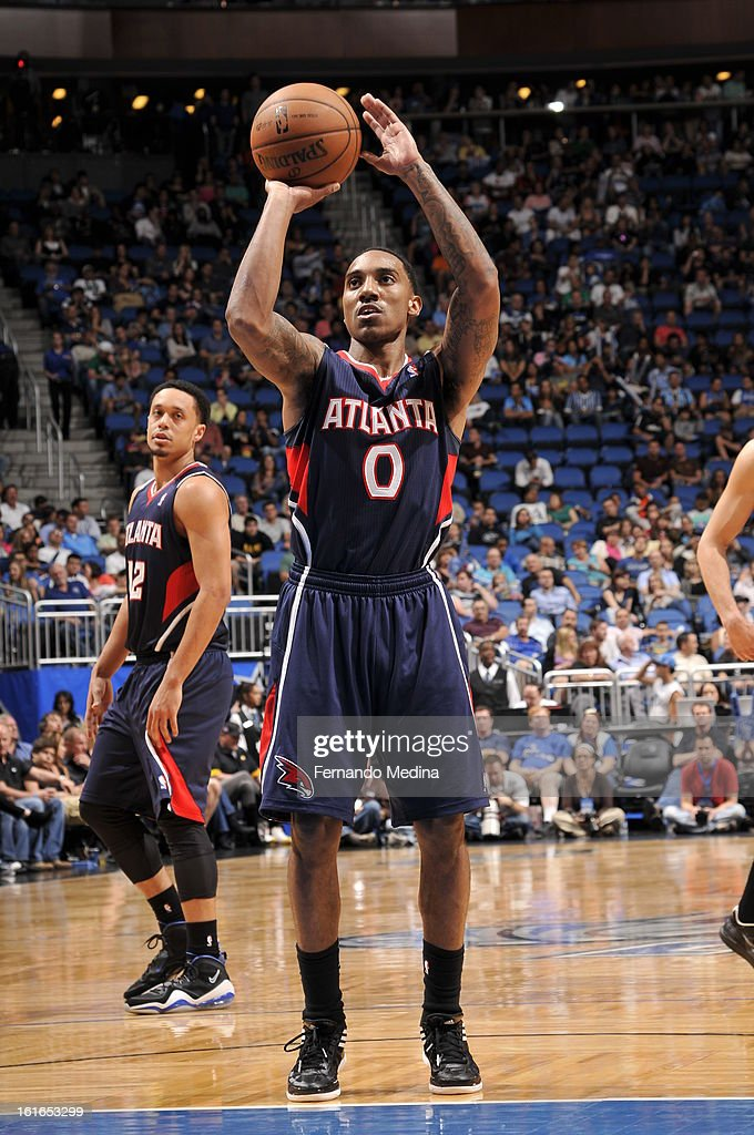 Jeff Teague #0 of the Atlanta Hawks shoots a foul shot against the Orlando Magic during the game on February 13, 2013 at Amway Center in Orlando, Florida.
