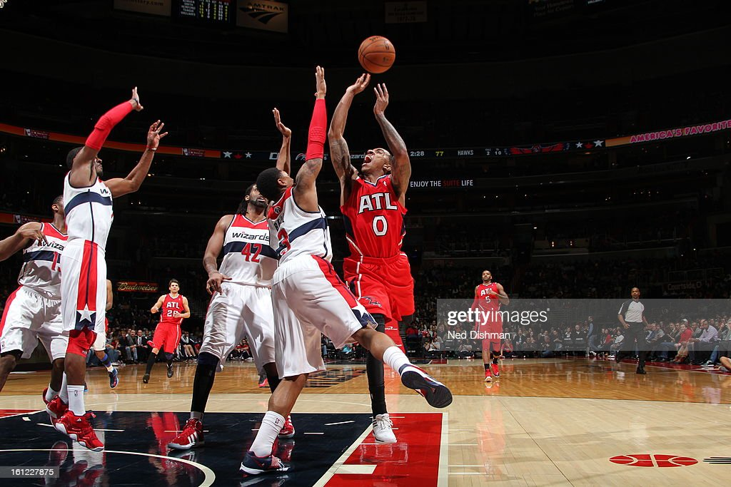 <a gi-track='captionPersonalityLinkClicked' href=/galleries/search?phrase=Jeff+Teague&family=editorial&specificpeople=4680498 ng-click='$event.stopPropagation()'>Jeff Teague</a> #0 of the Atlanta Hawks shoots against the Washington Wizards during the game at the Verizon Center on January 12, 2013 in Washington, DC.
