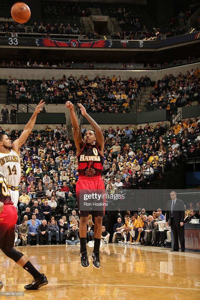 <a gi-track='captionPersonalityLinkClicked' href=/galleries/search?phrase=Jeff+Teague&family=editorial&specificpeople=4680498 ng-click='$event.stopPropagation()'>Jeff Teague</a> #0 of the Atlanta Hawks shoots the ball against the Indiana Pacers on February 5, 2013 at Bankers Life Fieldhouse in Indianapolis, Indiana.
