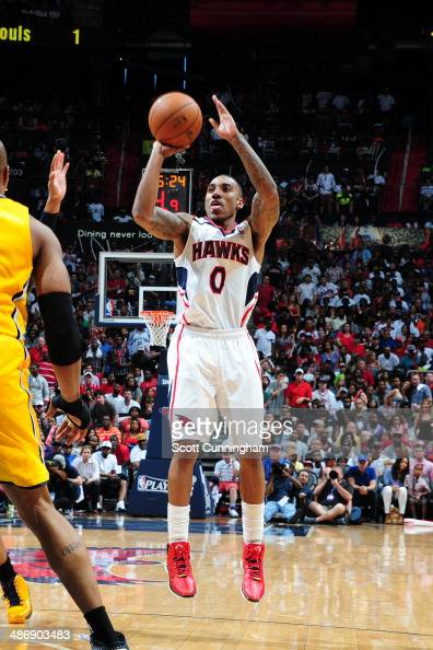 Jeff Teague of the Atlanta Hawks shoots the ball against the Indiana Pacers during Game Four of the Eastern Conference Quarterfinals on April 26 2014...