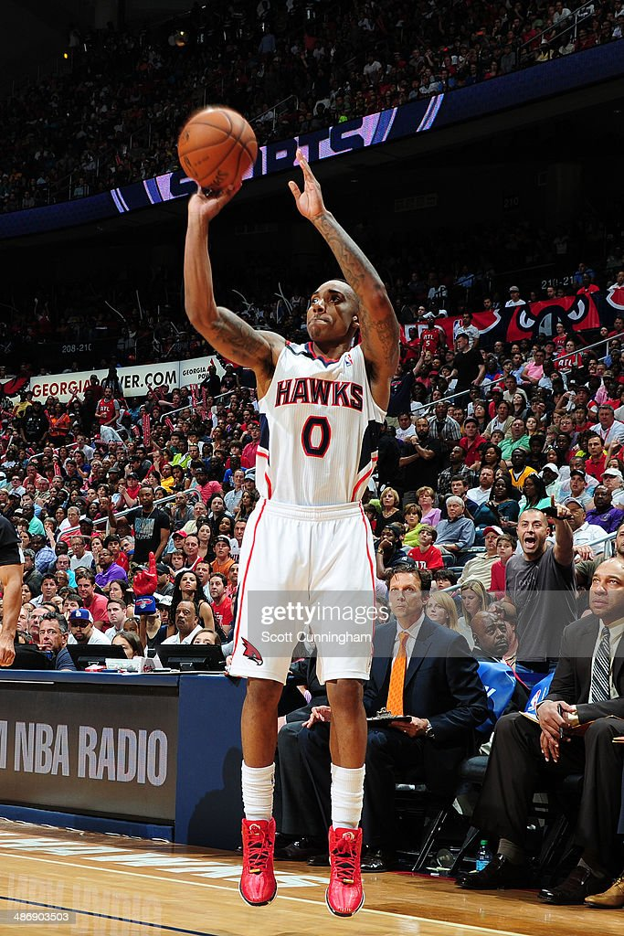 <a gi-track='captionPersonalityLinkClicked' href=/galleries/search?phrase=Jeff+Teague&family=editorial&specificpeople=4680498 ng-click='$event.stopPropagation()'>Jeff Teague</a> #0 of the Atlanta Hawks shoots the ball against the Indiana Pacers during Game Four of the Eastern Conference Quarterfinals on April 26, 2014 at Philips Arena in Atlanta, Georgia.