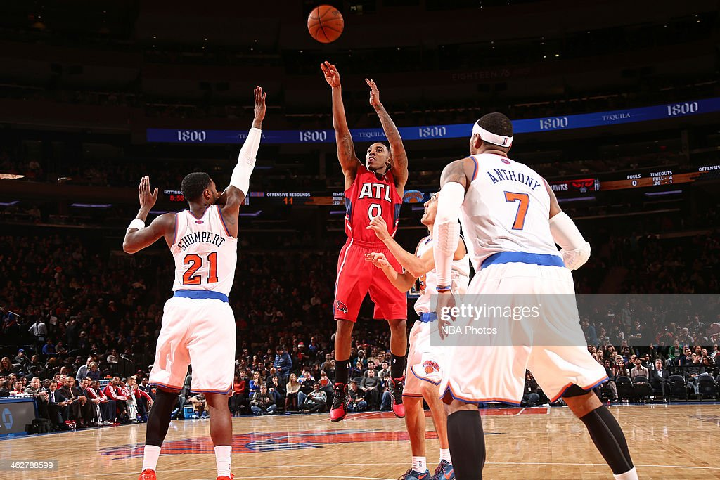 Jeff Teague #0 of the Atlanta Hawks shoots the ball against the New York Knicks during a game at Madison Square Garden in New York City.