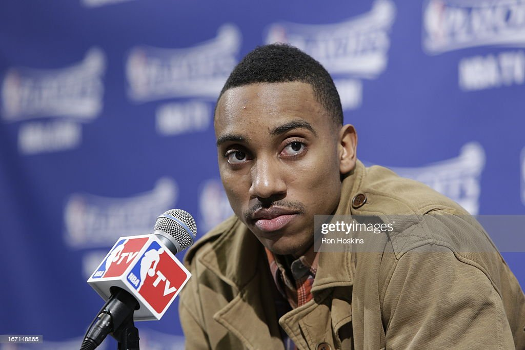 Jeff Teague #0 of the Atlanta Hawks speaks during a press conference after a loss in Game One of the Eastern Conference Quarterfinals between the Indiana Pacers and the Atlanta Hawks on April 21, 2013 at Bankers Life Fieldhouse in Indianapolis, Indiana.