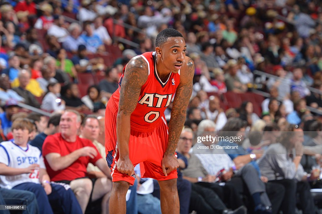 <a gi-track='captionPersonalityLinkClicked' href=/galleries/search?phrase=Jeff+Teague&family=editorial&specificpeople=4680498 ng-click='$event.stopPropagation()'>Jeff Teague</a> #0 of the Atlanta Hawks stands on the court during the game against the Philadelphia 76ers at the Wells Fargo Center on April 10, 2013 in Philadelphia, Pennsylvania.