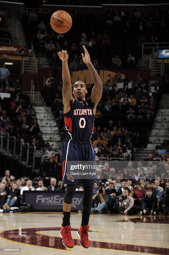 <a gi-track='captionPersonalityLinkClicked' href=/galleries/search?phrase=Jeff+Teague&family=editorial&specificpeople=4680498 ng-click='$event.stopPropagation()'>Jeff Teague</a> #0 of the Atlanta Hawks takes a shot against the Cleveland Cavaliers at The Quicken Loans Arena on January 9, 2013 in Cleveland, Ohio.