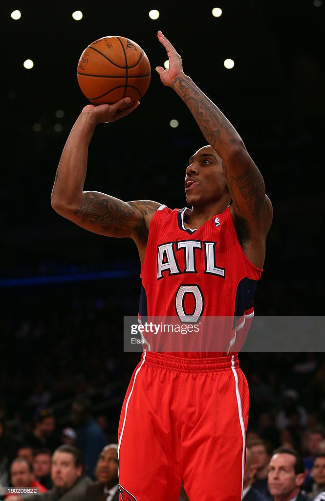 Jeff Teague #0 of the Atlanta Hawks takes a shot in the first quarter against the New York Knicks on January 27, 2013 at Madison Square Garden in New York City.