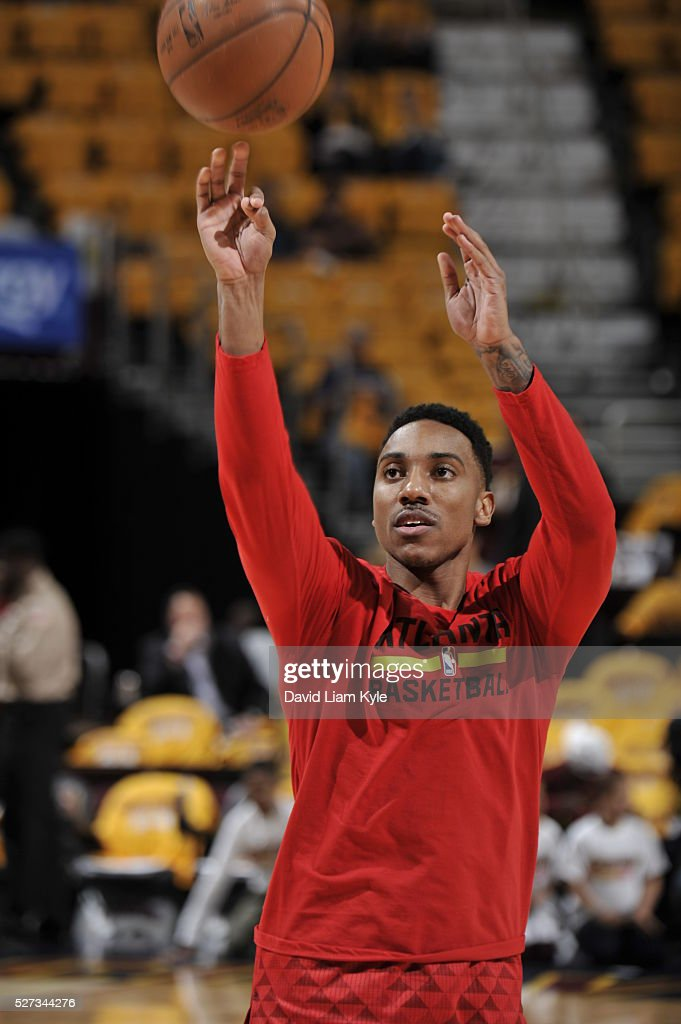 Jeff Teague #0 of the Atlanta Hawks warms up before the game against the Cleveland Cavaliers in Game One of the Eastern Conference Semifinals of the 2016 NBA Playoffs on May 2, 2016 at The Quicken Loans Arena in Cleveland, Ohio.