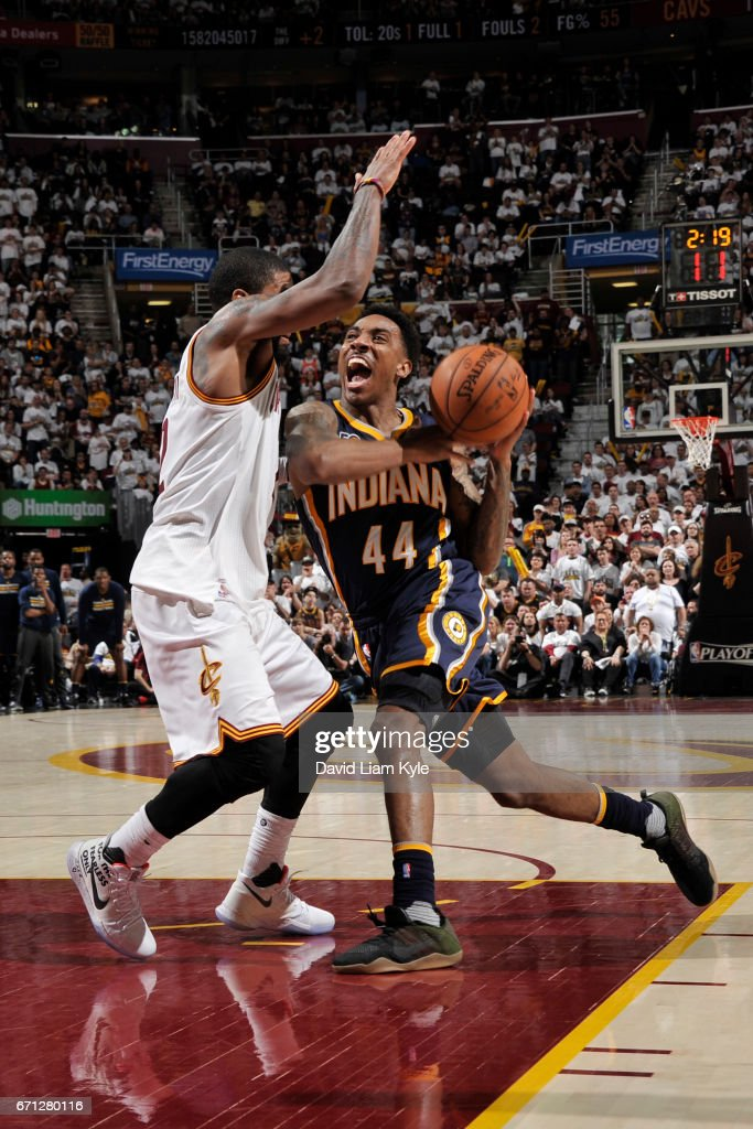 Jeff Teague #44 of the Indiana Pacers goes to the basket against the Cleveland Cavaliers in Round One of the Eastern Conference Playoffs during the 2017 NBA Playoffs on April 15, 2017 at Quicken Loans Arena in Cleveland, Ohio.