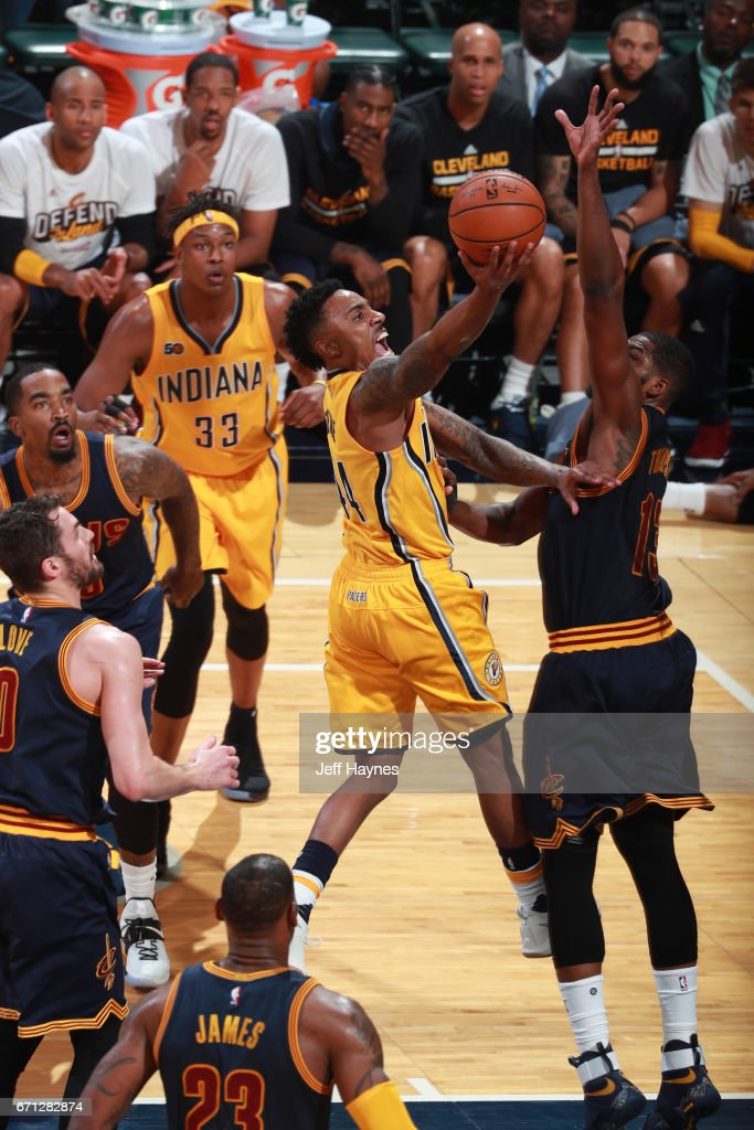 Jeff Teague #44 of the Indiana Pacers goes to the basket against the Cleveland Cavaliers during Game Three of the Eastern Conference Quarterfinals of the 2017 NBA Playoffs on April 20, 2017 at Bankers Life Fieldhouse in Indianapolis, IN.
